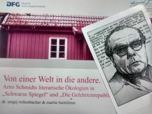 Titelblatt Vortrag mit Arno Schmidt-Postkarte, aufgenommen mit Motorola Moto G, Postdoc-Büro, 19:33